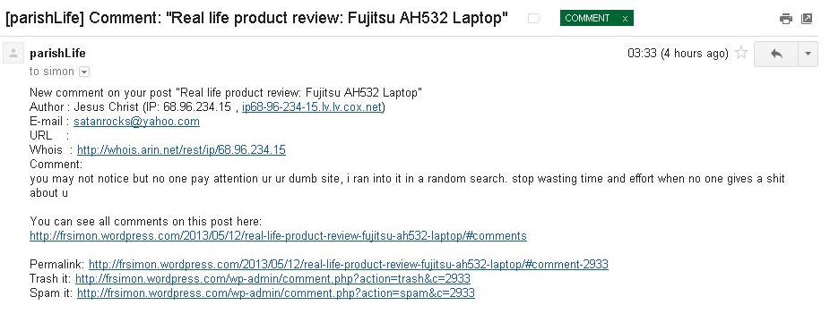 [parishLife  Comment   Real life product review  Fujitsu AH532 Laptop  - fr.simonrundell@gmail.com - Gmail
