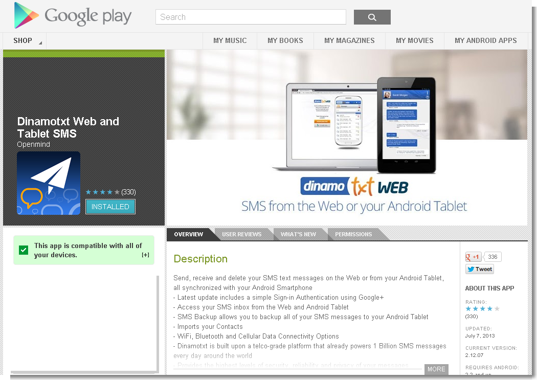 Dinamotxt Web and Tablet SMS - Android Apps on Google Play