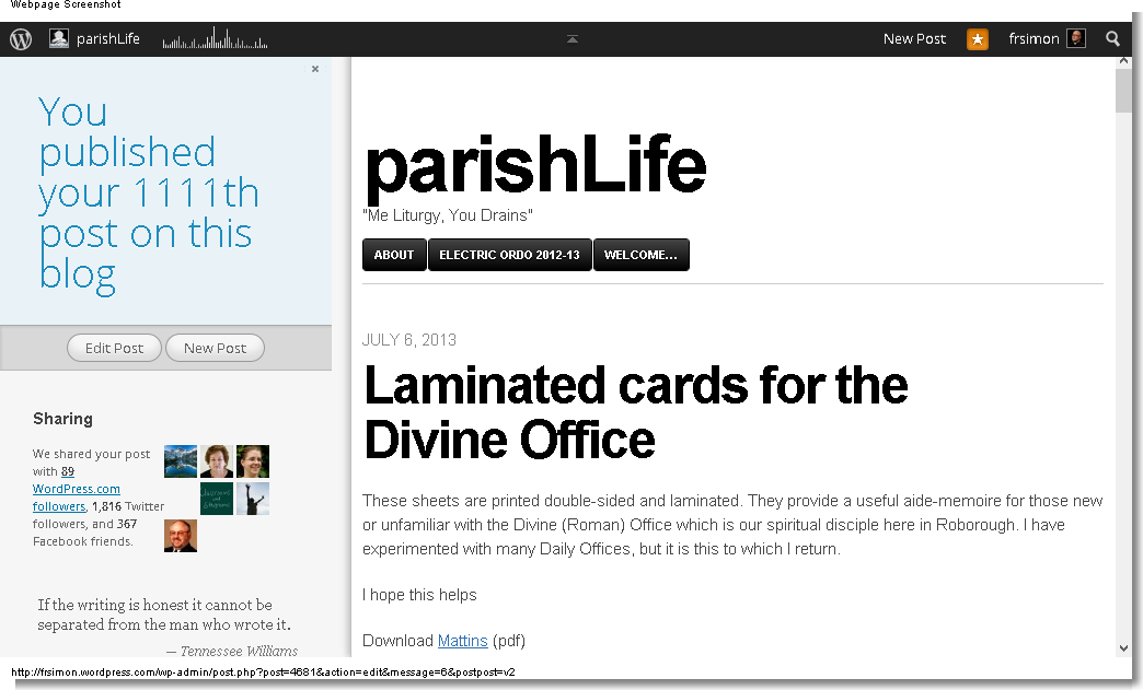 Edit Post ‹ parishLife — WordPress