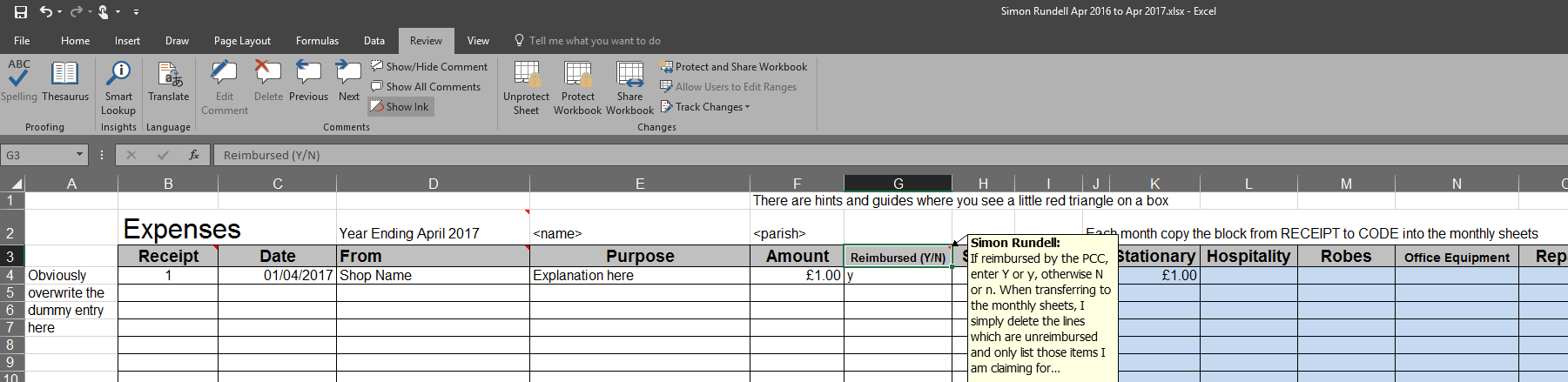 Clergy Expenses Excel Template – Free for you to use and adapt – Me ...